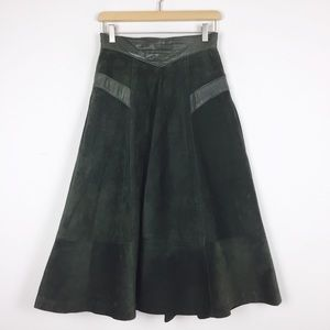 Vintage suede midi skirt full A-line forest green